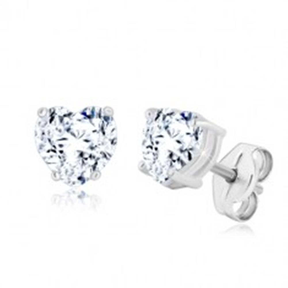 Šperky eshop Náušnice zo striebra 925 - ligotavé zirkónové srdce v transparentnom odtieni