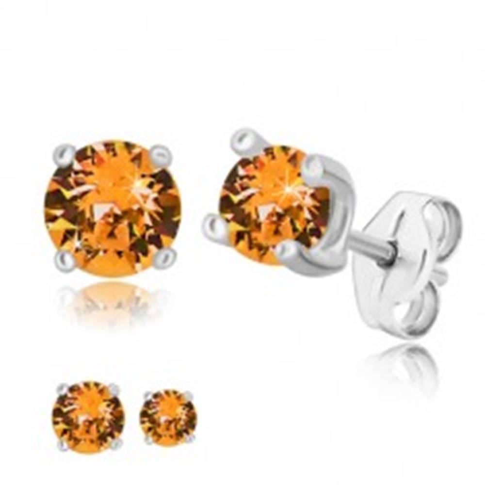 Šperky eshop Strieborné 925 náušnice - okrúhly zirkón v medovo oranžovom odtieni, štvorcový kotlík - Veľkosť zirkónu: 4 mm