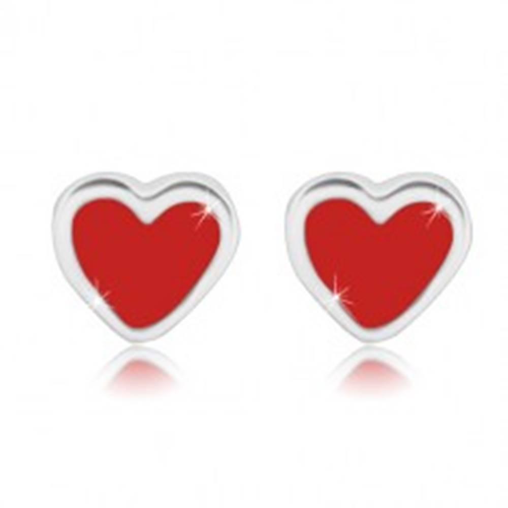 Šperky eshop Strieborné náušnice 925 - pravidelné srdiečko s červenou glazúrou, puzetky
