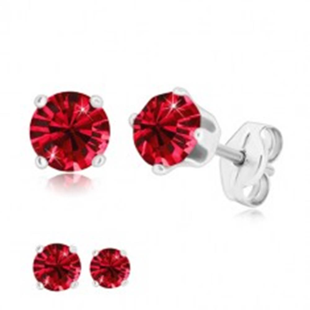 Šperky eshop Strieborné náušnice 925 - žiarivý okrúhly zirkón v kotlíku, rubínovo červený odtieň - Veľkosť zirkónu: 4 mm