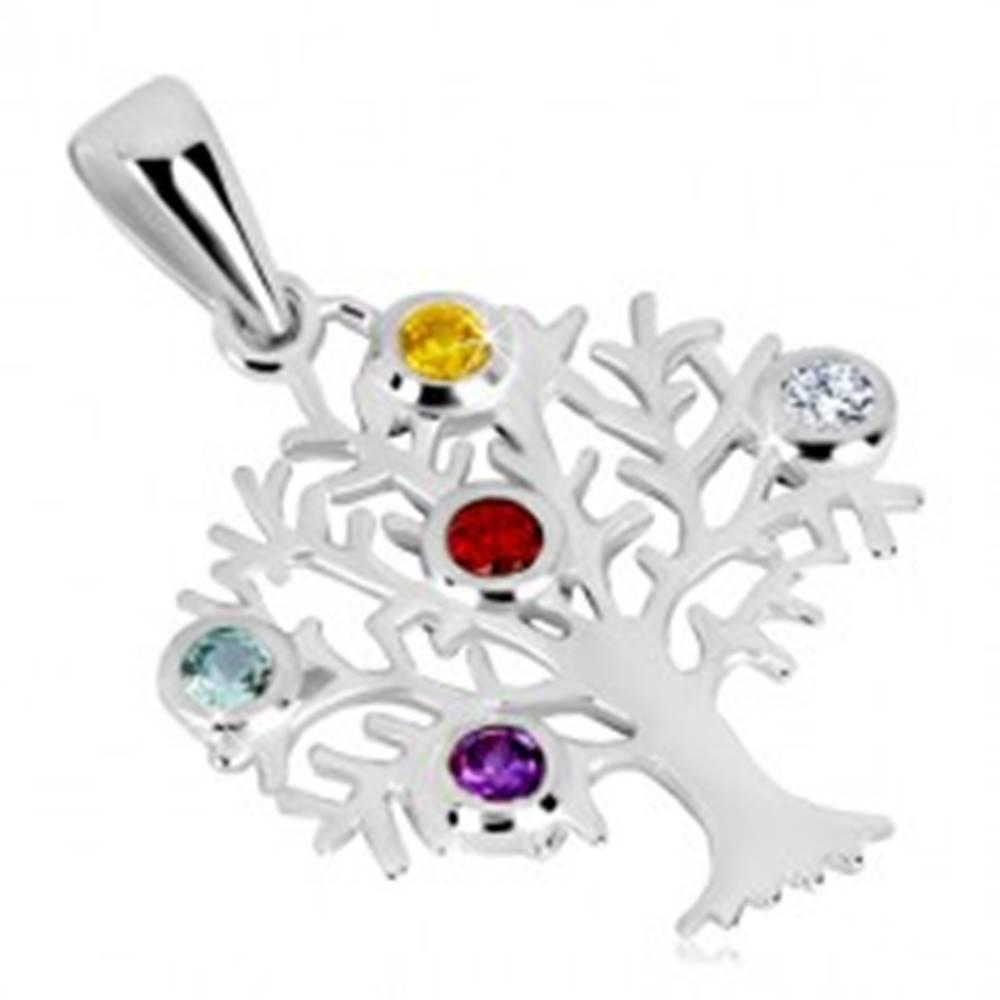 Šperky eshop Strieborný prívesok 925 - strom života, rozvetvené konáre, farebné zirkóny