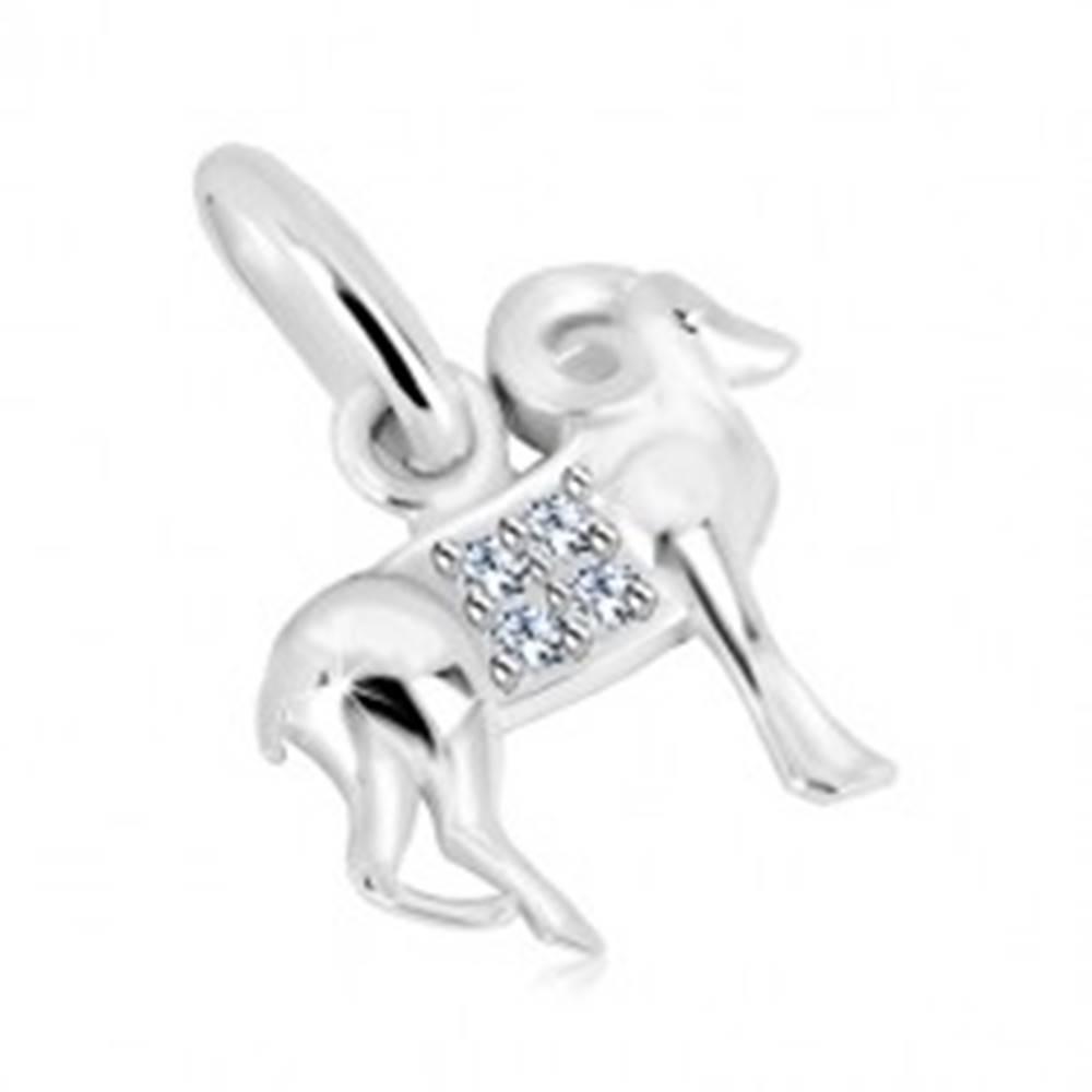 Šperky eshop Strieborný prívesok 925 - transparentné zirkóny, lesklý povrch, znamenie BARAN