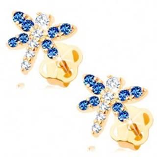 Náušnice v žltom 14K zlate - ligotavý motýlik z čírych a modrých zirkónov