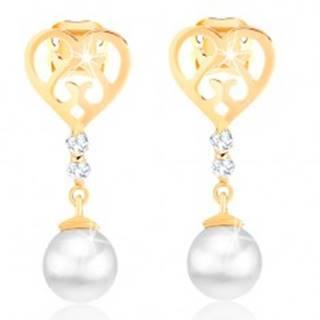 Náušnice zo žltého 14K zlata - ploché srdce s výrezmi, číre zirkóny, perla