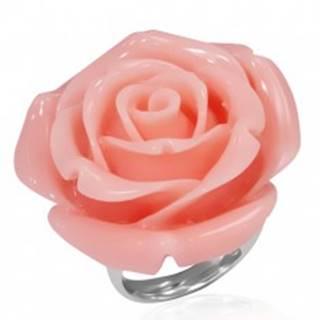 Prsteň z ocele - ružový rozkvitnutý kvet zo živice - Veľkosť: 49 mm