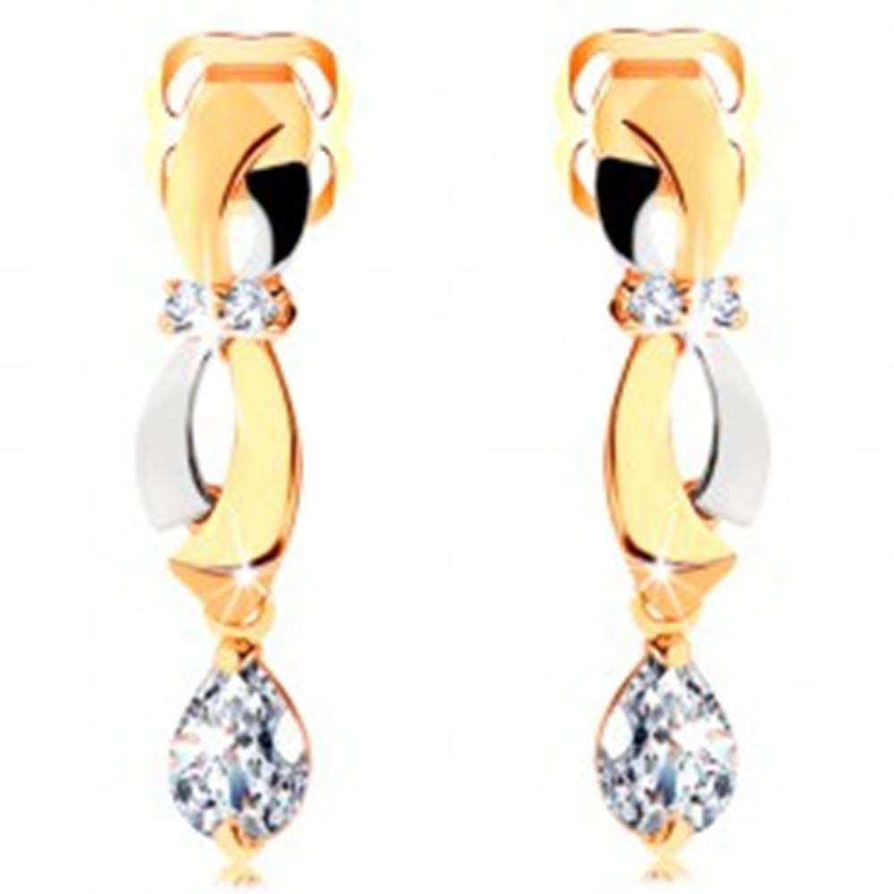 Šperky eshop Náušnice v 14K zlate - dvojfarebné oblúčiky, visiaca zirkónová slza