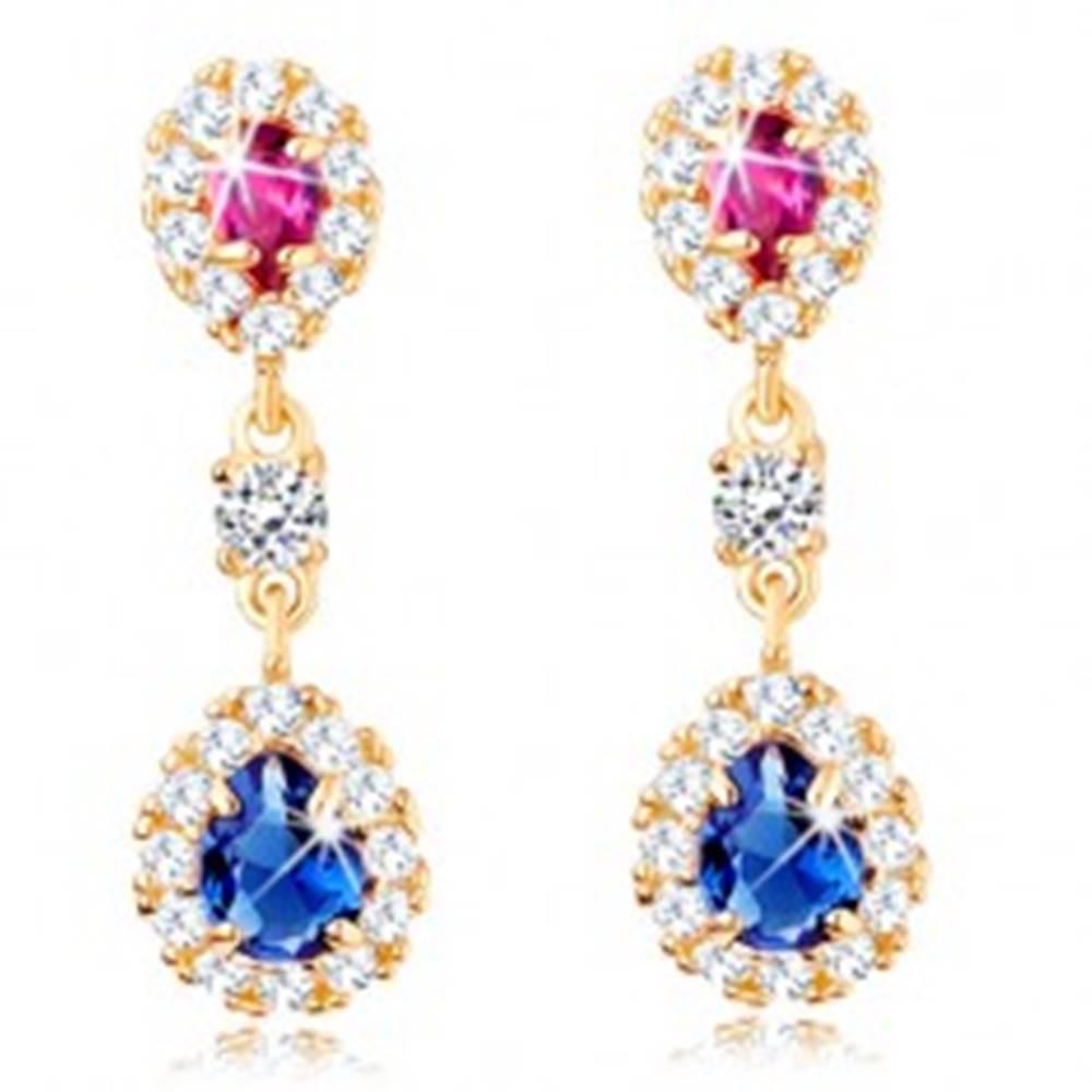 Šperky eshop Náušnice v žltom 14K zlate - ružová a modrá zirkónová kvapka s čírym lemom