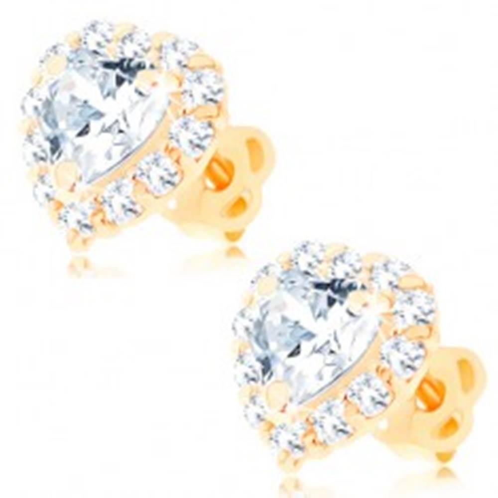 Šperky eshop Náušnice zo žltého 14K zlata - číre srdce lemované okrúhlymi zirkónikmi