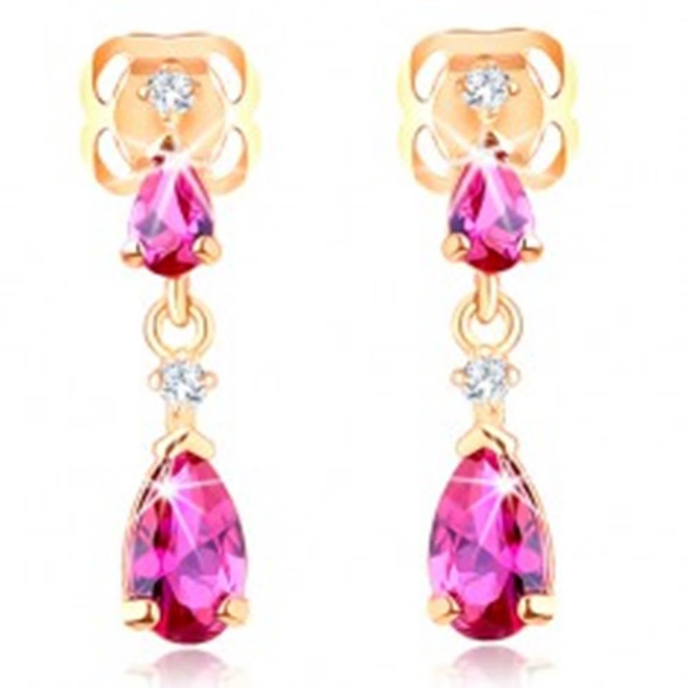 Šperky eshop Náušnice zo žltého 14K zlata - dve zirkónové kvapky v ružovom odtieni