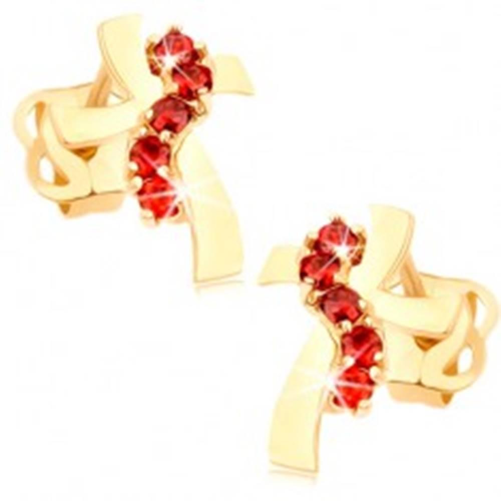 Šperky eshop Náušnice zo žltého 14K zlata - kríž so zvlnenými ramenami, červené zirkóny