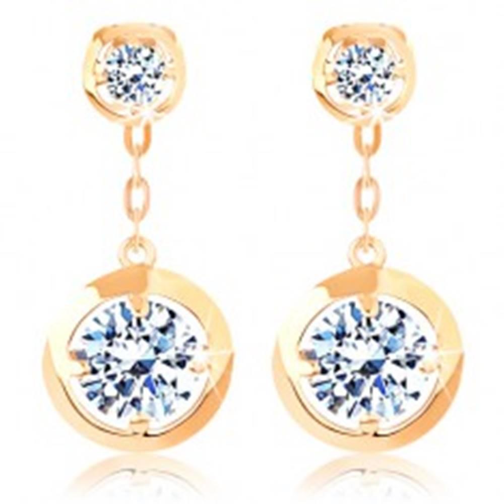 Šperky eshop Náušnice zo žltého 14K zlata - okrúhle číre zirkóny s lesklým okrajom, retiazka