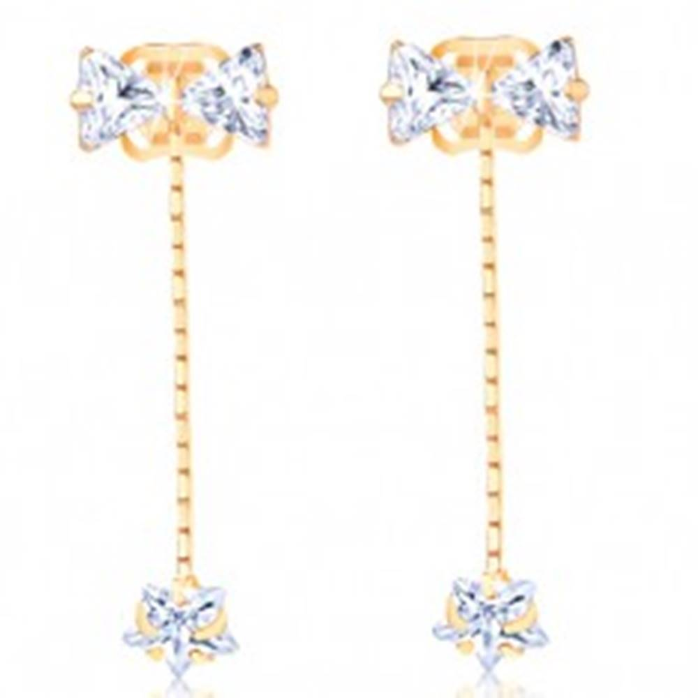 Šperky eshop Zlaté náušnice 585 - číra mašlička, zirkónová hviezda na retiazke