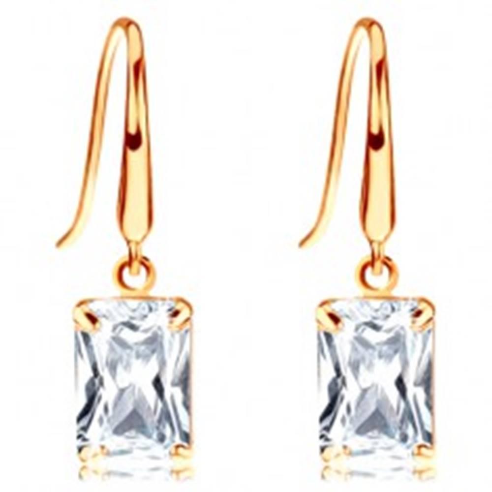 Šperky eshop Zlaté náušnice 585, ligotavý zirkónový obdĺžnik čírej farby, háčiky