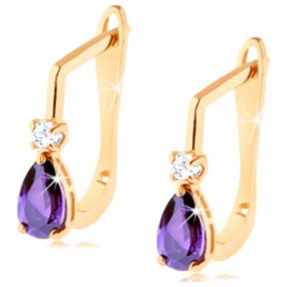 Šperky eshop Zlaté náušnice 585 - zirkónik čírej farby a fialová zirkónová kvapka