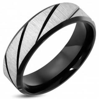 Prsteň z ocele 316L s brúseným povrchom, čierne diagonálne pásy, 7 mm - Veľkosť: 52 mm