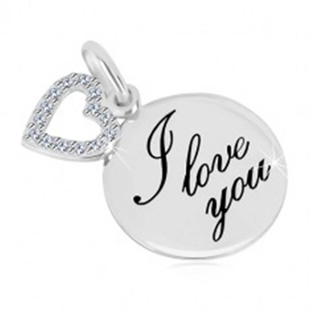 """Šperky eshop Prívesok zo striebra 925 - lesklý kruh s nápisom """"I love you"""", obrys srdca so zirkónmi"""