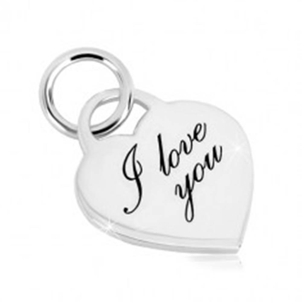 """Šperky eshop Strieborný 925 prívesok - srdcový zámok, jemne gravírovaný nápis """"I love you"""""""