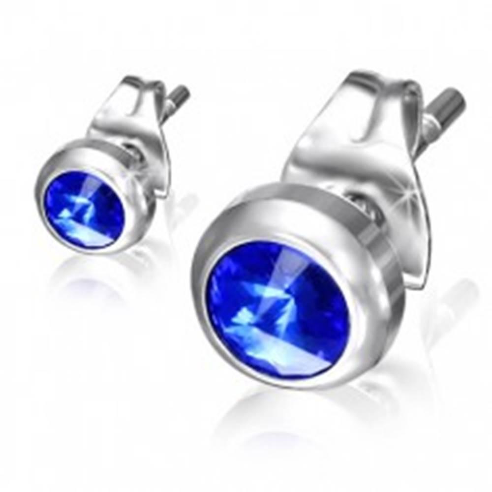 Šperky eshop Puzetové náušnice z ocele - modrý ligotavý kamienok v lesklej objímke
