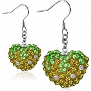 Náušnice z ocele 316L - trblietavé zirkónové srdce zeleno-zlatej farby, afroháčiky