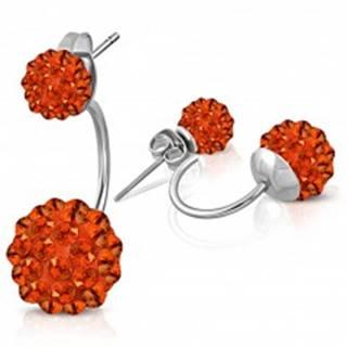 Oceľové náušnice striebornej farby, dve Shamballa guľôčky s oranžovými zirkónmi