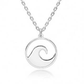 Strieborný 925 náhrdelník - ligotavá retiazka, vyrezávaný kruh s hrebeňom vlny