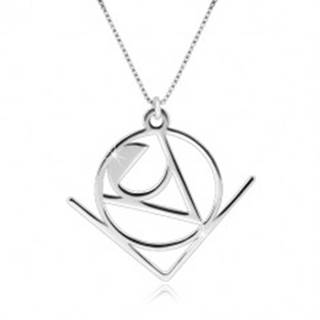 """Strieborný 925 náhrdelník - slovo """"Love"""" v abstraktnom geometrickom motíve"""