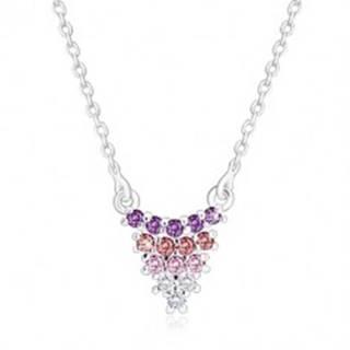 Strieborný náhrdelník 925 - strapec hrozna na retiazke, zirkóny, farebný prechod