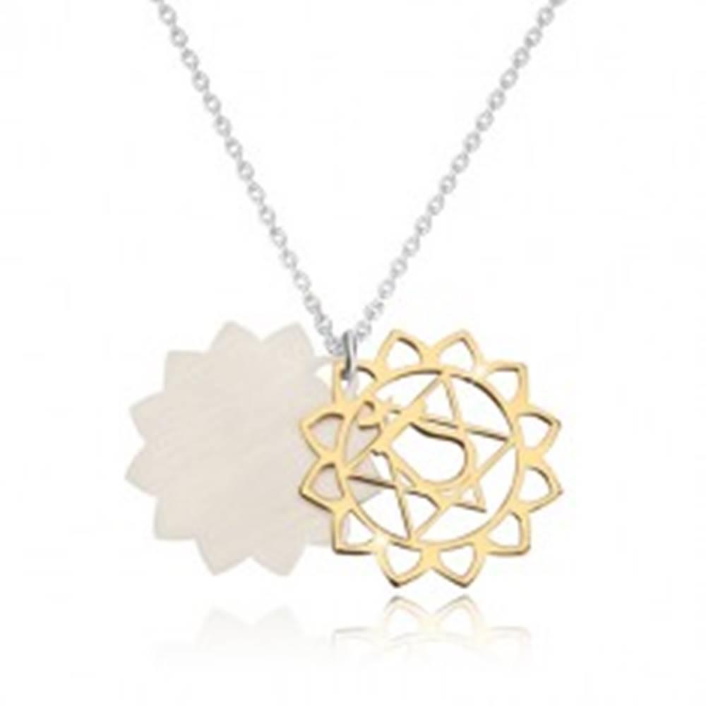 Šperky eshop Náhrdelník zo striebra 925 - lesklá srdcová čakra v zlatom odtieni, matný lotosový kvet