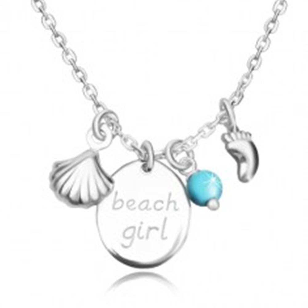 """Šperky eshop Náhrdelník zo striebra 925 - ovál s nápisom """"beach girl"""", stopa, mušľa a guľôčka"""