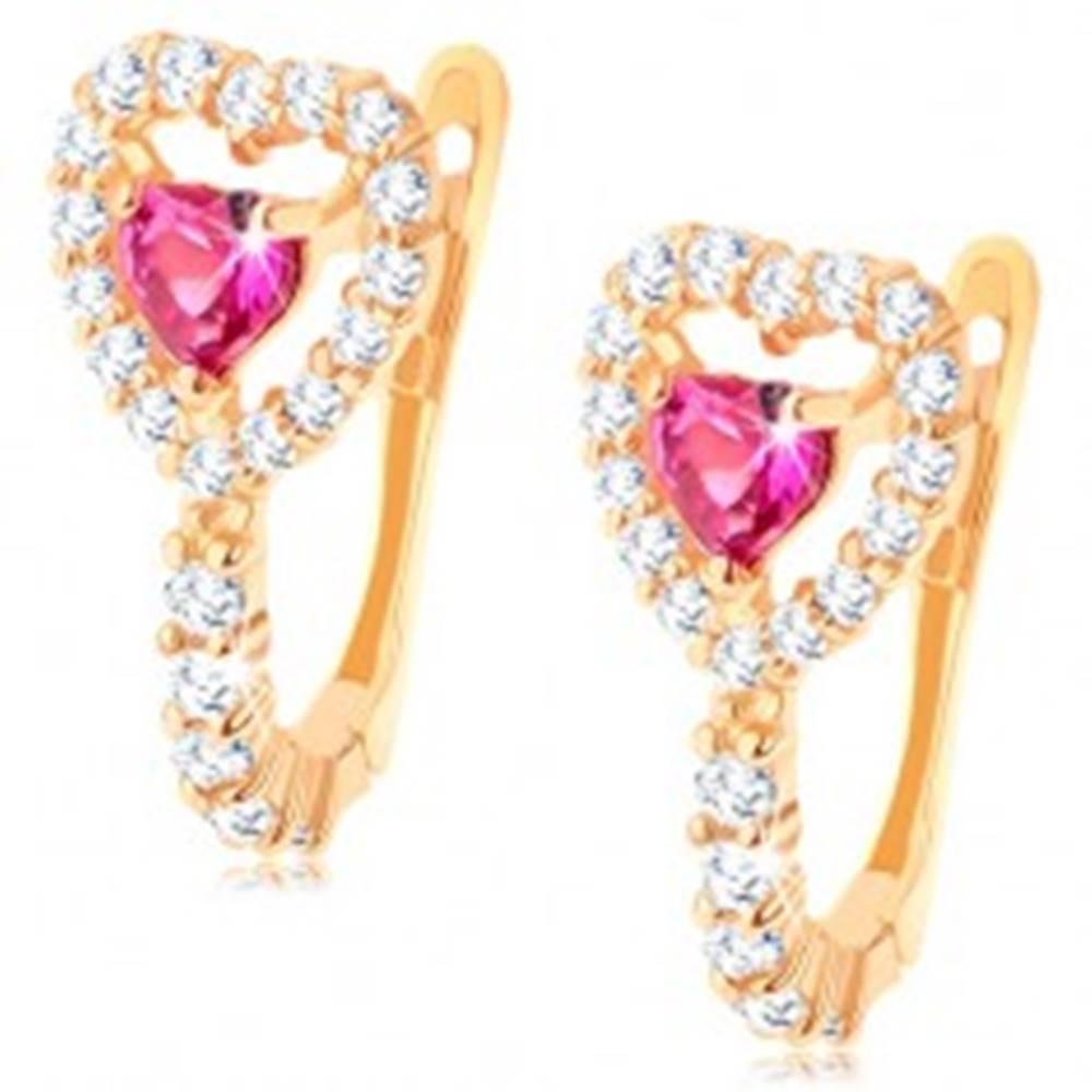 Šperky eshop Náušnice v žltom 14K zlate - rubínové srdiečko s čírym obrysom