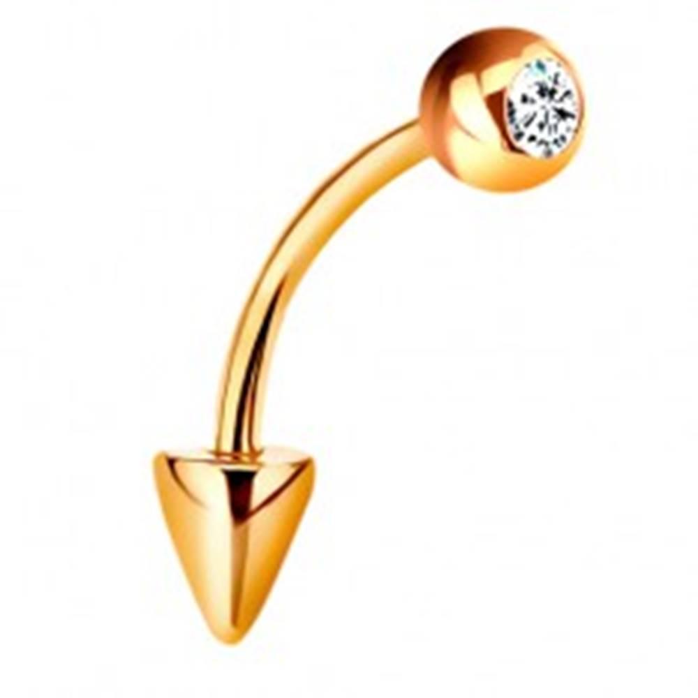 Šperky eshop Piercing v žltom 14K zlate - zahnutá činka s guličkou a kužeľom, číry zirkón, 10 mm