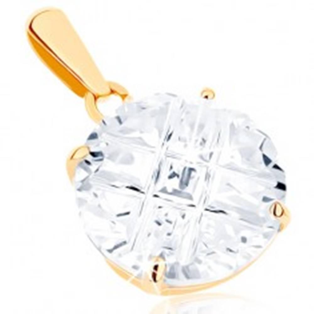 Šperky eshop Prívesok zo žltého 14K zlata - okrúhly brúsený kamienok čírej farby, zárezy, 9 mm