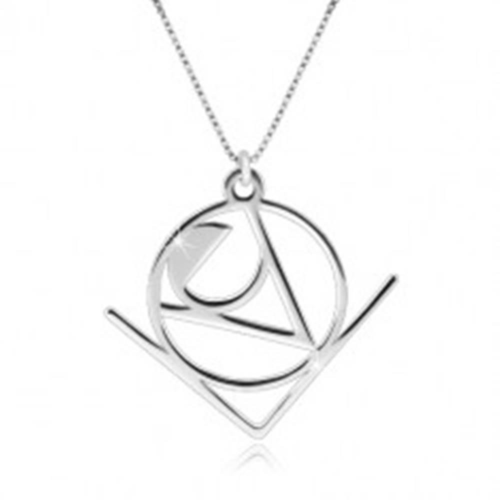 """Šperky eshop Strieborný 925 náhrdelník - slovo """"Love"""" v abstraktnom geometrickom motíve"""