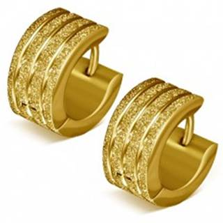 Náušnice z ocele - pieskové krúžky zlatej farby, lesklé ryhy