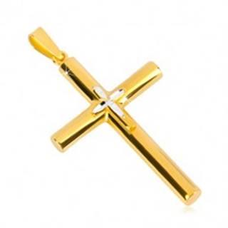 Strieborný prívesok 925 - kríž zlatej farby, menší krížik uprostred, zrniečkové zárezy