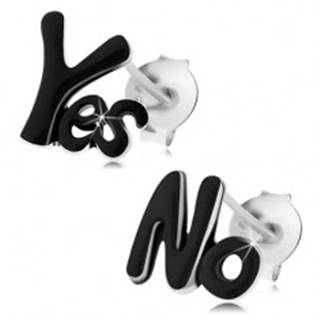 Strieborné 925 náušnice, nápisy Yes a No, lesklá čierna glazúra