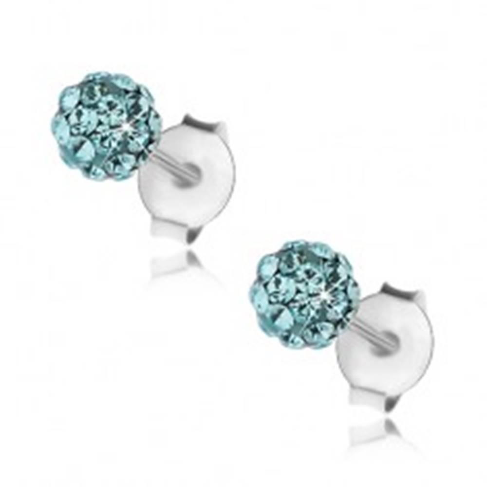 Šperky eshop Guličkové náušnice zo striebra 925, svetlomodré krištáliky Preciosa, 4 mm