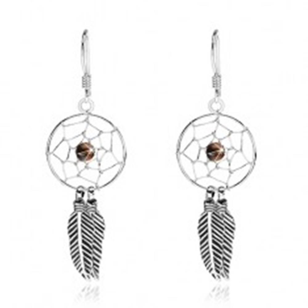 Šperky eshop Náušnice zo striebra 925, lapač snov s čiernou korálkou a pierkami, 15 mm