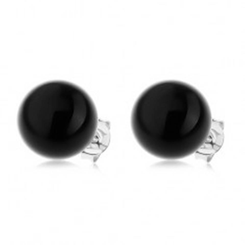 Šperky eshop Náušnice zo striebra 925, lesklá guľatá perla čiernej farby, 10 mm