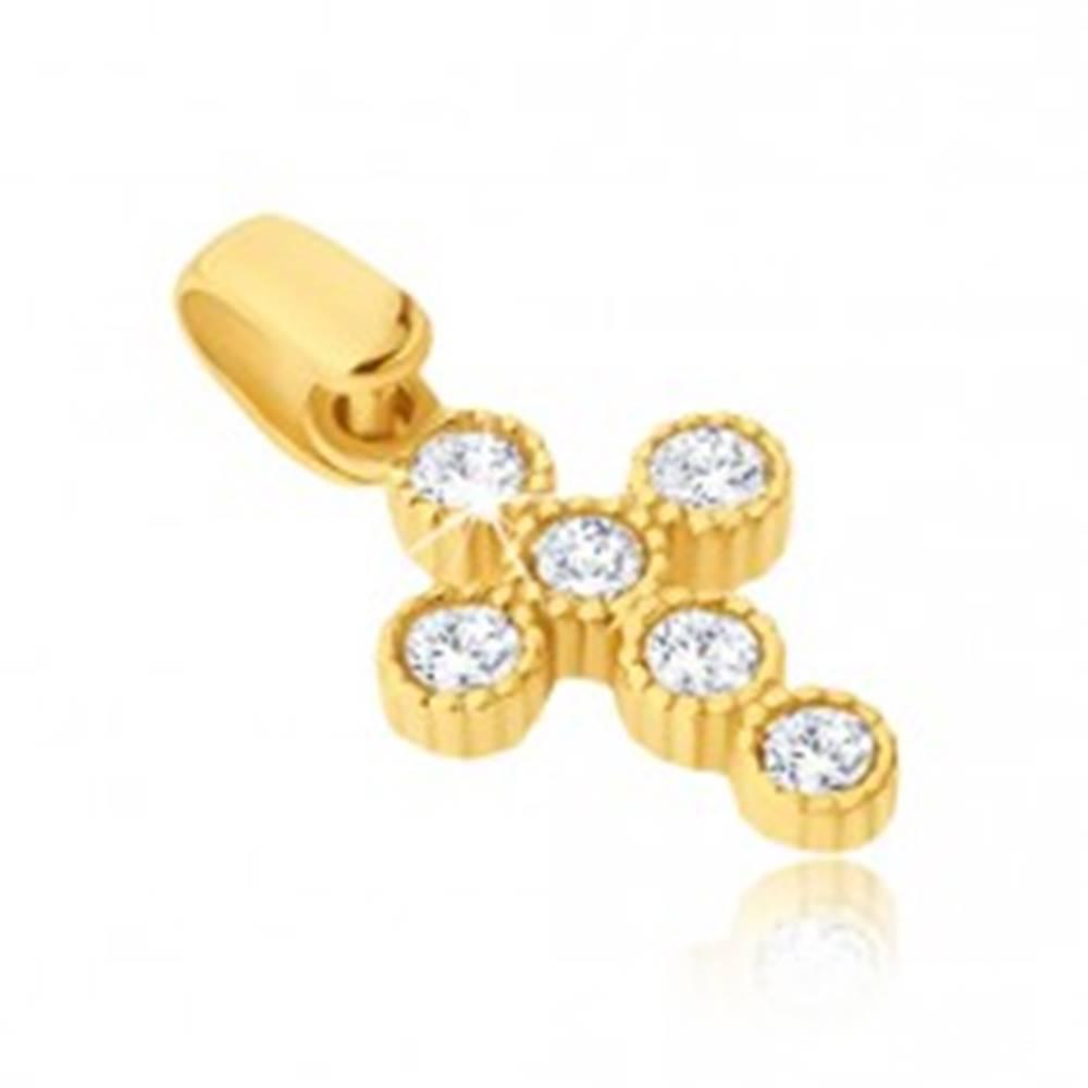 Šperky eshop Prívesok v žltom 14K zlate - krížik s okrúhlymi zirkónmi v objímkach