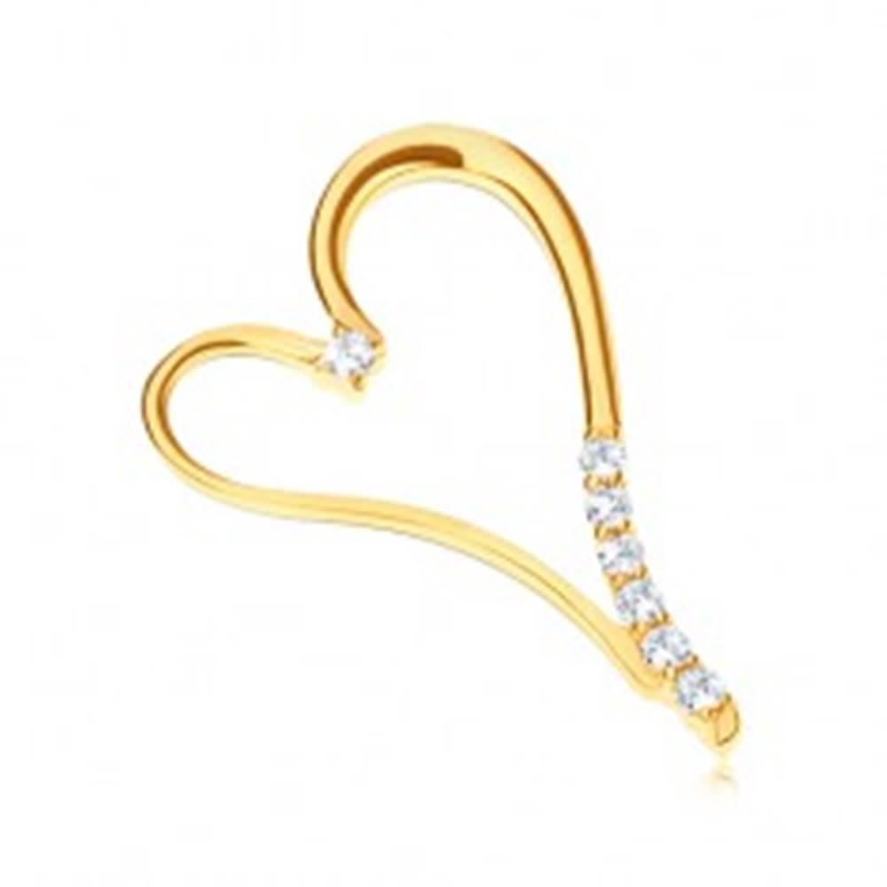 Šperky eshop Prívesok v žltom zlate 585 - predĺžené srdce so zirkónikmi na nožičke