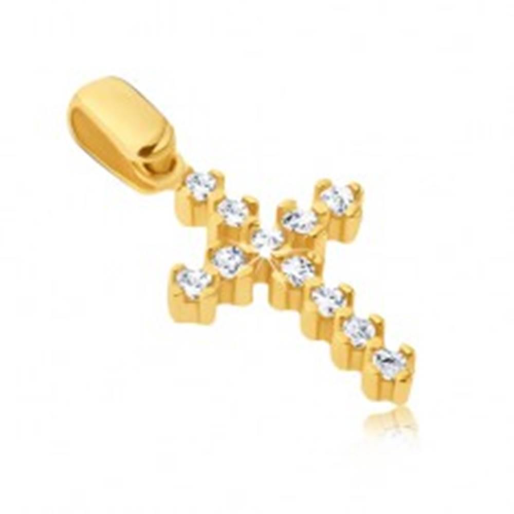 Šperky eshop Prívesok zo zlata 14K - trblietavý krížik s vyčnievajúcimi paličkami