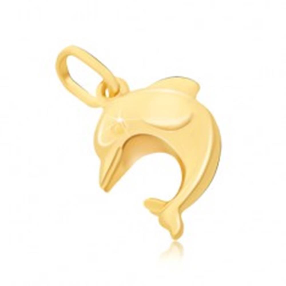 Šperky eshop Prívesok zo zlata 14K - veľký 3D skákajúci delfín s plutvami