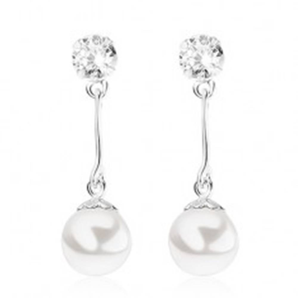 Šperky eshop Puzetové náušnice, striebro 925, číry zirkónik, guľatá biela perla