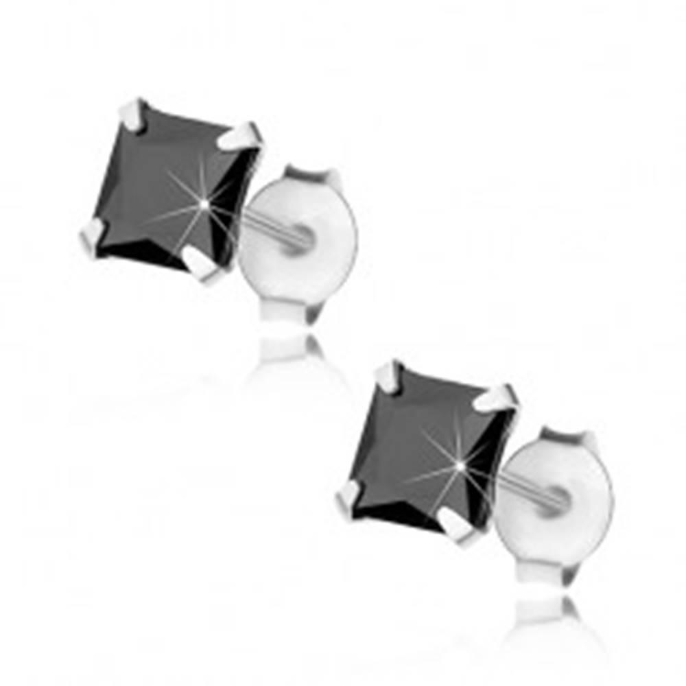 Šperky eshop Puzetové náušnice, striebro 925, zirkónový štvorec čiernej farby, 5 mm