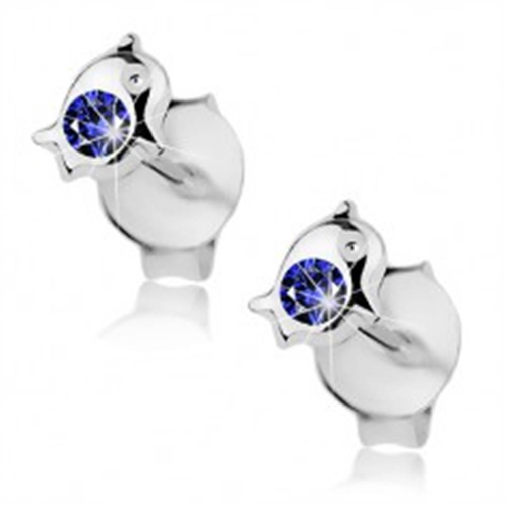 Šperky eshop Strieborné 925 náušnice, malý delfín zdobený okrúhlym krištáľom modrej farby