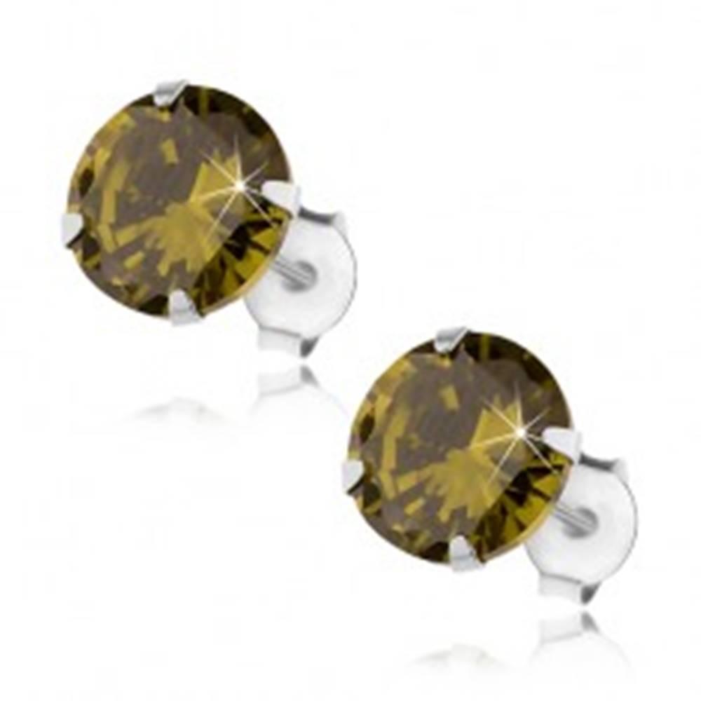 Šperky eshop Strieborné 925 náušnice, okrúhly ligotavý zirkón zelenej farby, 8 mm
