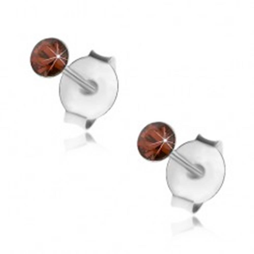 Šperky eshop Strieborné 925 náušnice, okrúhly oranžovočervený krištálik Swarovski, 2,5 mm