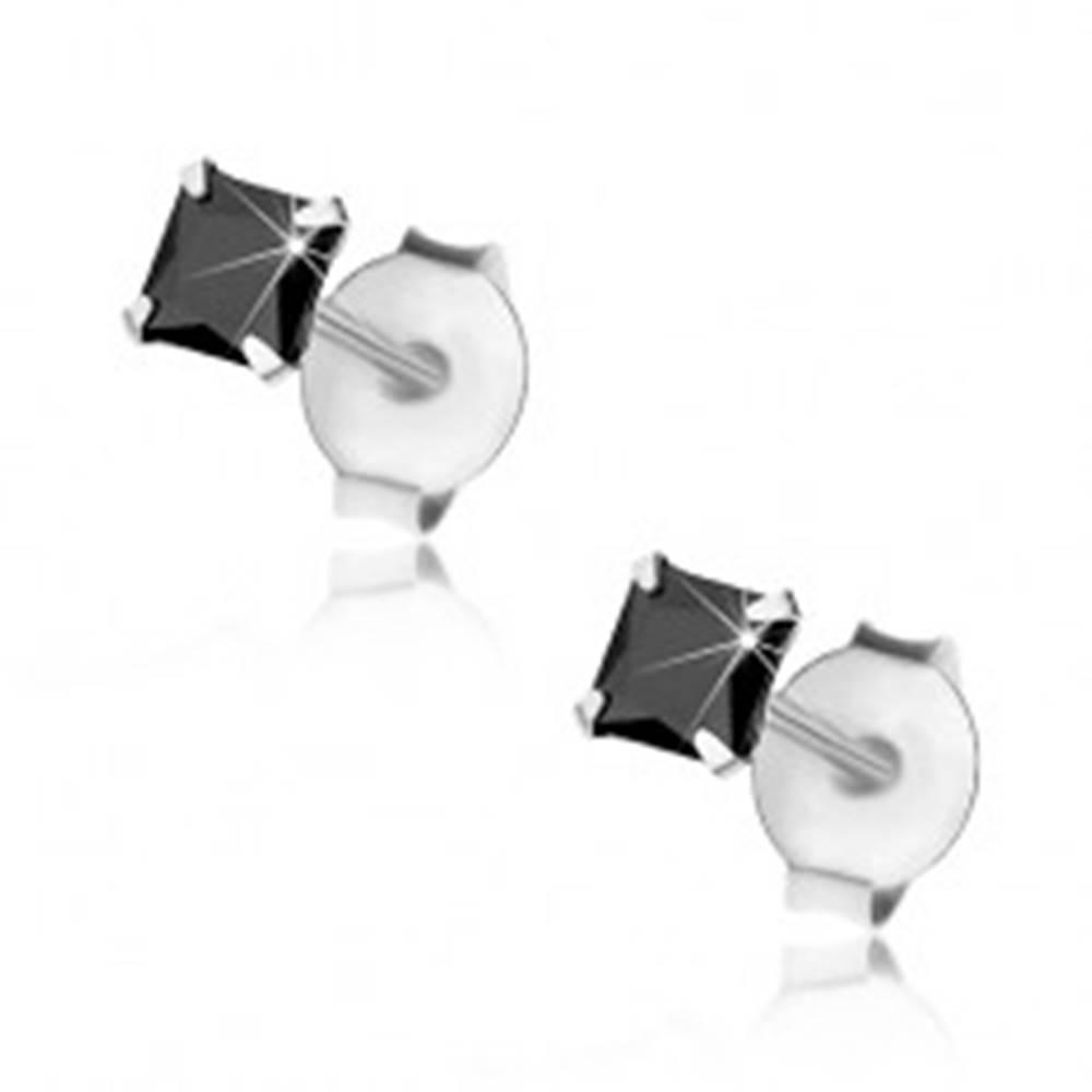 Šperky eshop Strieborné náušnice 925, čierny zirkónový štvorec, 3 mm, puzetky