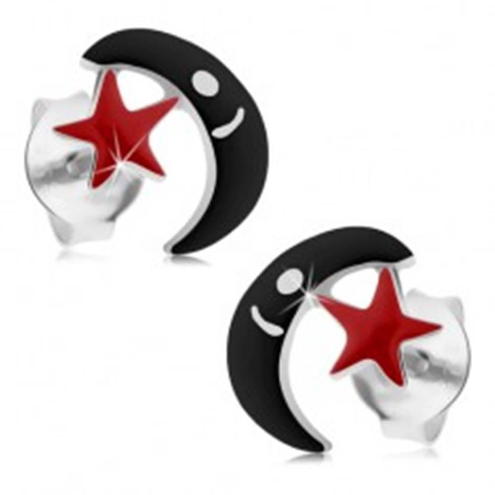 Šperky eshop Strieborné náušnice 925, puzetky, čierny mesiac, červená hviezdička, glazúra